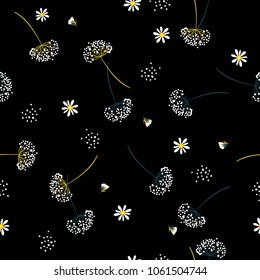 Dark Seamless pattern vector with white wind blow Dandelion flowers Beautiful hand-drawn illustration on black background for fashion fabric and all prints