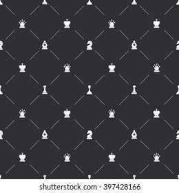 Dark seamless pattern with white chess icons for book endpaper