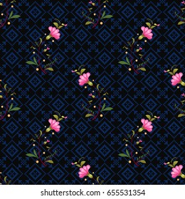 Dark seamless vector background. Style of Petrykivka painting. Ukrainian pattern with pink flowers. Cross stitch ornament on backdrop.