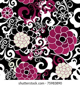 Dark seamless vector texture with pink and violet flowers and white pattern