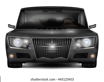 Dark sedan car concept in retro style. Non-branded design. Realistic detailed front view. Vector illustration isolated on white background.