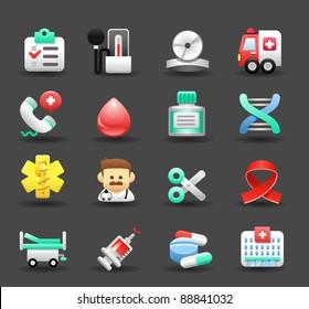 Dark series   Medical ,Emergency ,health care icons set