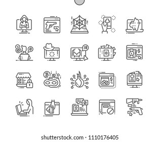 Dark side of web Well-crafted Pixel Perfect Vector Thin Line Icons 30 2x Grid for Web Graphics and Apps. Simple Minimal Pictogram