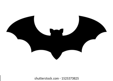 Dark silhouette of bat with open wings. One of Halloween holiday symbol on white background