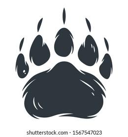 Dark silhouette of bear paw footprint