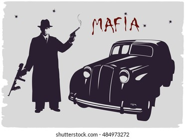 Dark silhouette of a gangster with guns near a car.