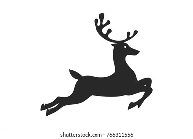 the dark silhouette of a jumping deer