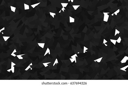 Dark Silver, Gray vector geometric simple minimalistic background, which consist of triangles on white background. Triangular pattern with gradient for your business design.