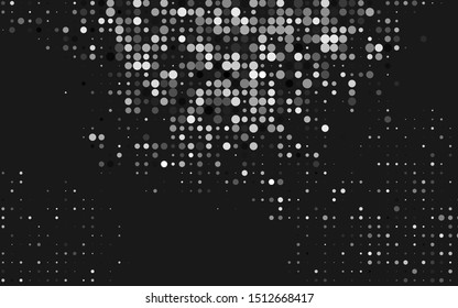 Dark Silver, Gray vector template with circles. Blurred bubbles on abstract background with colorful gradient. Pattern of water, rain drops.
