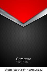 Dark silver and red tech arrows design. Vector steel metal background
