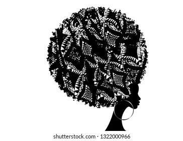Dark skin female face with curly hair afro, ethnic traditional earrings, hair style concept, African Print fabric texture, vector isolated or white background