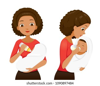 Dark Skin Mother Feeding Baby With Milk In Baby Bottle, Front And Side View, Mother's day, Suckling, Infant, Motherhood, Innocence