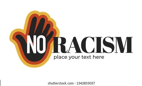 Dark skin palm no racism isolated icon organization or event vector black hand emblem or logo solidarity and tolerance equality stop discrimination nations friendship anti racism campaign ethnicity