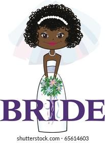 Dark Skinned Bride with Black Curly Hair Brown Eyes