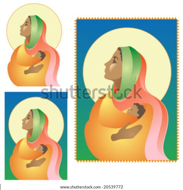 Dark Skinned Virgin Mary Holding Baby Stock Vector