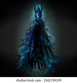 Dark sorcerer, evil demon or monster, dead knight ghost in ragged cloak and steel mask, glowing with mysterious light, flying in darkness 3d realistic vector illustration for fantasy game design
