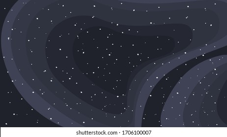 Dark space background with white stars. Vector, illustration.