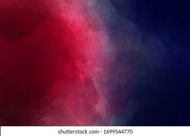 Dark space overflow burgundy dark blue watercolor. Dark night   Background for comparison, blue and red.