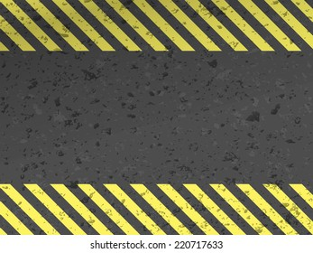 Dark steel background with yellow caution stripes. Vector