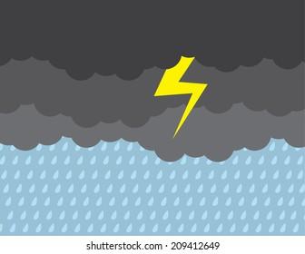 Dark stormy clouds raining with lightning strike