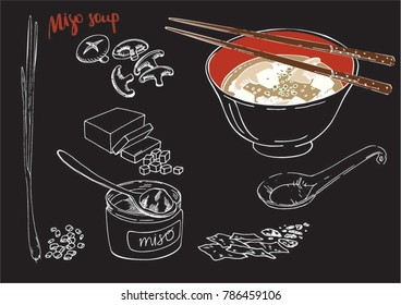 A dark style vector image of served a bowl of tasty miso soup with a spoon and food sticks, and fresh ingredients for miso soup