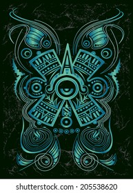 Dark Stylized Mayan symbol - tattoo, vector illustration - surf style