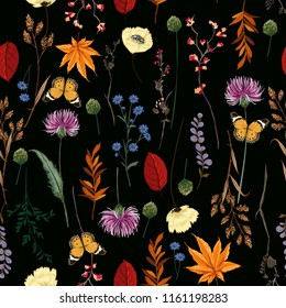 Dark Summer night Vector many kind of wild flowers seamless beautiful on black color background, pattern for fashion and all prints on hand drawing style.
