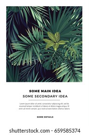 Dark summer vector tropical postcard design with green jungle palm leaves. Space for text.
