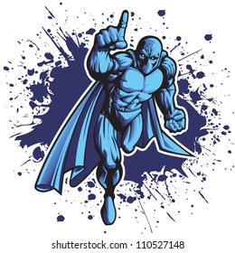 Dark superhero or villain charging forward. Put your logo on his chest!
