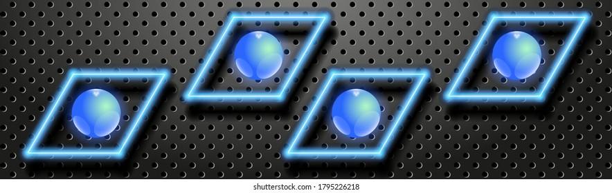 Dunkle Technologie-Banner. Glühende Neonlinien und Glasbälle auf schwarz perforiertem Metallhintergrund. Vektor EPS10