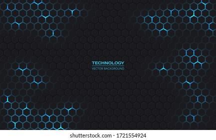 Dark technology hexagonal vector background. Abstract blue bright energy flashes under hexagon in dark technology modern futuristic background vector illustration. Gray honeycomb texture grid.