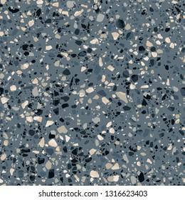 Dark terrazzo flooring seamless texture. Realistic vector pattern of mosaic floor with natural stones, granite, marble, quartz. Classic Italian floor surface with gray, black, beige, golden particles