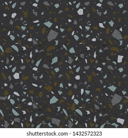 Dark terrazzo texture. Stone flooring background. Vector seamless pattern