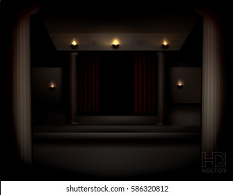 Dark theater with columns, red curtains and oil lamps