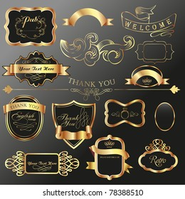 dark tone vintage label tags collections