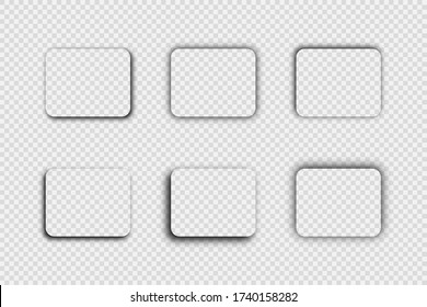 Dark transparent realistic shadow. Set of six rounded rectangle shadows isolated on transparent background. Vector illustration.
