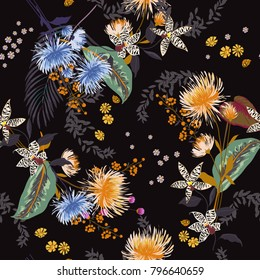 Dark Trendy  Floral pattern in the many kind of flowers. Tropical botanical  Seamless vector texture. Elegant template for fashion prints. Printing with in hand drawn style black background.