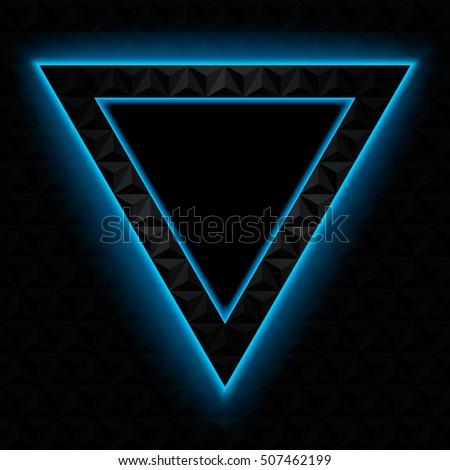 Dark Triangular Frame Neon Glow Stock Vector Royalty Free
