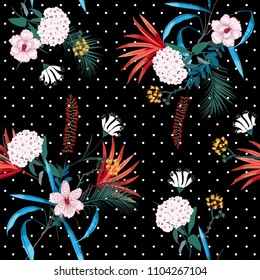 Dark tropical forest and blooming florals mix with trendy small polkadot ,seamless pattern in vector for fashion fabric and all prints on black background.