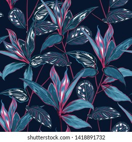 Dark Tropical forest night botanical Motifs scattered random. Seamless vector texture Floral pattern in the many kind of wild forest Printing with in hand drawn style on navy blue background color
