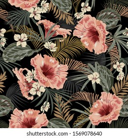 Dark tropical forest at night seamless pattern wallpaper vintage mood leaves of palm trees and exotic of flowers design for fashion,fabric,web,wallpeper,and all prints on black background color.