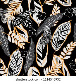 Dark tropical night leaves and foliage seamless pattern vector in hand drawn style for fashion fabric and all prints on orange line and black  background color