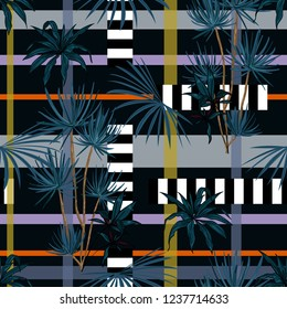 Dark tropical palm trees and leaves mixed with geometric stripe modern line seamless pattern on vector design for fashion,fabric,wallpaper, and all prints on black background color