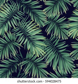 Dark tropical pattern with exotic plants. Seamless vector tropical pattern with green phoenix palm leaves.