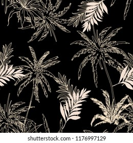 Dark tropical Seamless pattern vector  jungle palm leaves, trees  floral pattern design for fashion ,fabric wallpaper and all prints on black background colors