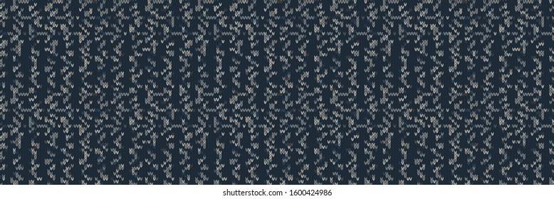 Dark tweed knit stitch effect vector border texture. Masculine dark marl seamless melange banner pattern. Hand knitting sweater material. Close up fabric textile background. Homespun wool ribbon trim
