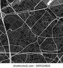 Dark vector art map of Aulnay-sous-Bois, Seine-Saint-Denis, France with fine grays for urban and rural areas. The different shades of gray in the Aulnay-sous-Bois  map do not follow any pattern.