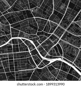 Dark vector art map of Berlin, Berlin, Germany with fine grays for urban and rural areas. The different shades of gray in the Berlin  map do not follow any particular pattern.
