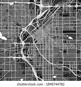 Dark vector art map of Denver, Colorado, UnitedStates with fine gray gradations for urban and rural areas. The different shades of gray in the Denver  map do not follow any particular pattern.