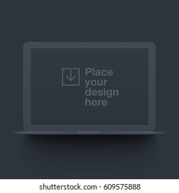 Dark vector clay render notebook mock up isolated on white background. Origami paper material template with realistic drop shadow.